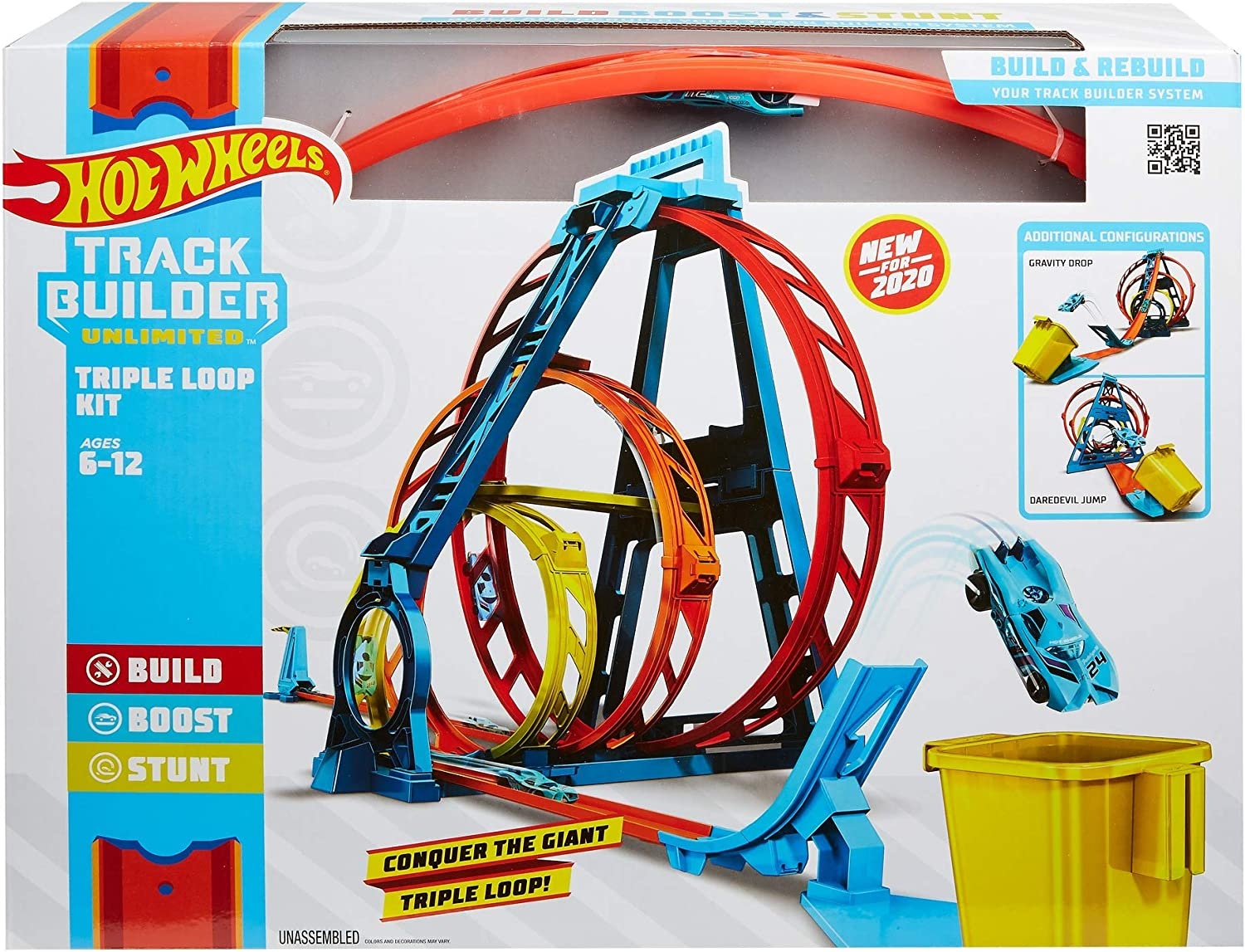 Hot Wheels Track Builder Unlimited Triple Loop Kit Collapsible 3-Loop Gift Set for Kids 6 to 12 Years Old /& One 1:64 Scale Vehicle with Connection Points GYP65