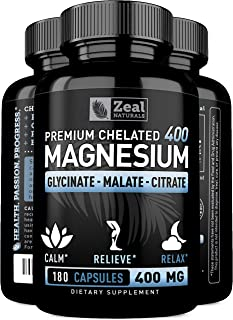 Premium Chelated Magnesium Glycinate, Malate, Citrate (400mg | 180 Capsules) Maximum Relief Magnesium Complex w. Magnesium Malate Magnesium Glycinate Magnesium Citrate for Sleep and Muscle Recovery