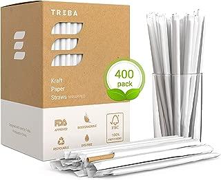 Eco-Friendly Paper Straws – Wrapped 400 pcs Biodegradable Drink Straws – Bulk Pack Dye Ink Free Kraft Drinking Straws