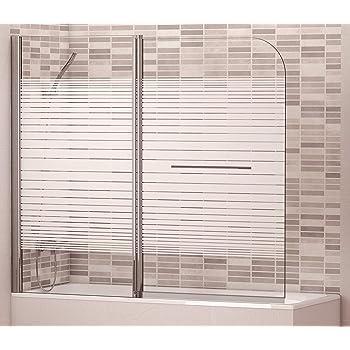 Mampara Biombo para Bañera con Tirador Modelo UBIN SERIGRAFIA. Medidas 145x80 cm, Cristal 5 mm Decorado Serigrafiado. Perfil Aluminio Cromado, Fácil Apertura: Amazon.es: Bricolaje y herramientas