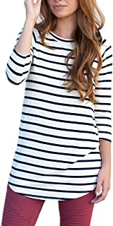 Womens Striped Tunic 3/4 Sleeve Blouse