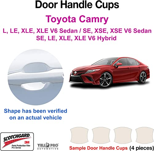 popular YelloPro outlet online sale Custom Fit Door Handle Cup 3M Scotchgard Anti Scratch Clear Paint Protector Film Guard Bra Self Healing PPF Cover Sticker Kit for online sale 2018 2019 2020 2021 2022 Toyota Camry Sedan outlet online sale