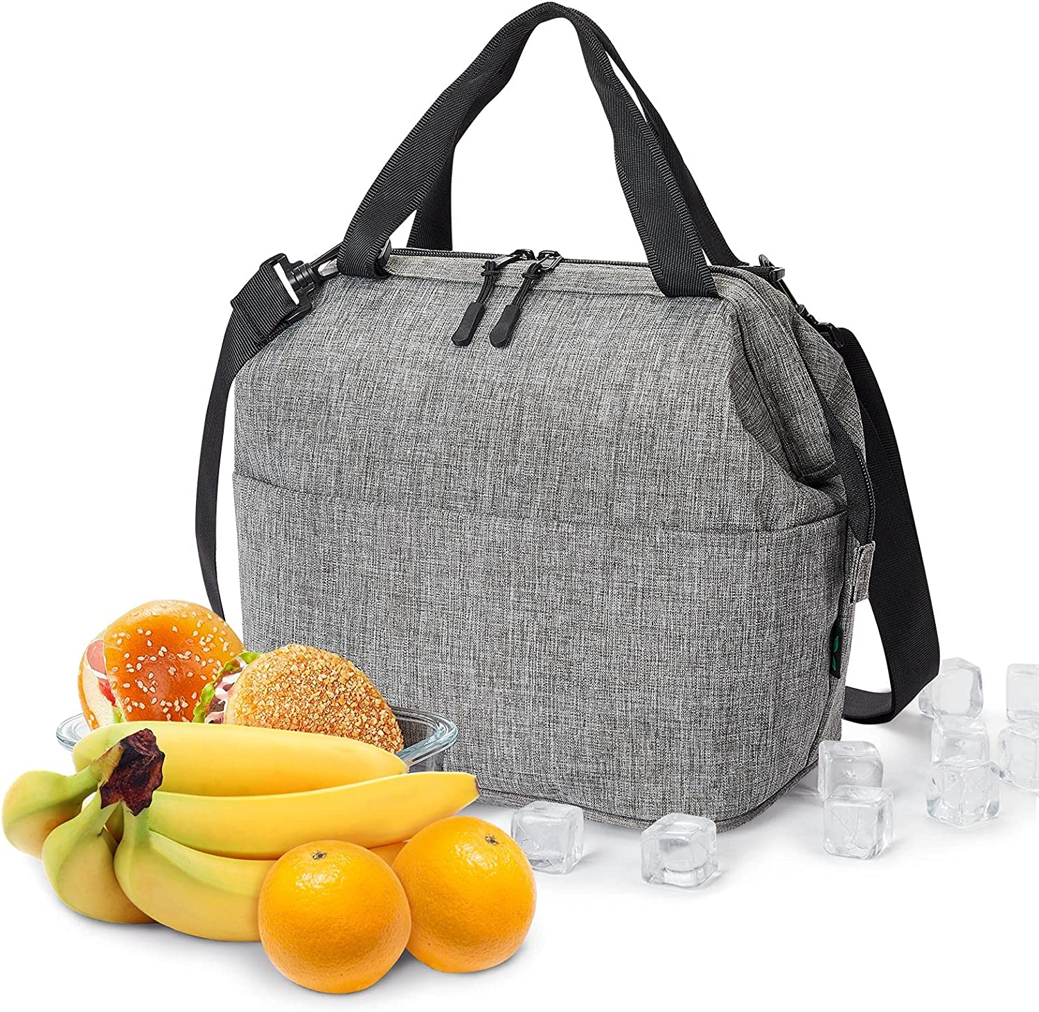 Lunch Box for Women, Insulated Lunch Bag for teen girl, Small Lunch Box 9 Cans Cooler Bag for Work Portable with Shoulder Strap Grey by F40C4TMP
