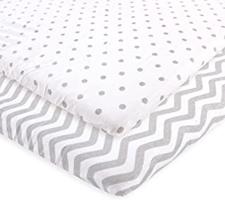 Luvable Friends Unisex Baby Fitted Playard Sheet, Gray Chevron Dot, One Size