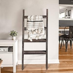 KIAYACI Ladder Shelf Rustic Vintage Blanket Ladder Decorative Wood Ladder Shelf for Living Room Bedroom Bathroom (Vintage Walnut, 48
