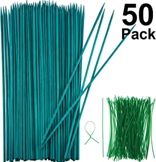 Green Wood Plant Stake Floral Plant Support Wooden Bamboo Stake Natural Craft Picks with 100 Pieces 15 cm Long Green Metallic Twist Ties (45 cm, 50 Pieces)