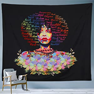 Namey Wall Tapestry African American Woman Black Girl Hanging Tapestries with Inspirational Words Hippie Wall Art Decor for Bedroom Living Room College Dorm Room Decoration, 60x80inch