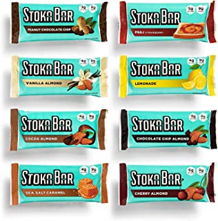 Stoka Bars| 8-Flavor Variety Pack | All Natural Energy Bar | High Protein | Low Carb | Keto and Vegan Friendly | 8 Bars