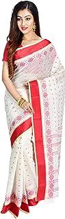 SareesofBengal Women's Bengal Cotton Tangail Tant Jamdani Handloom Saree Red And White