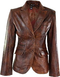 Aviatrix Ladies Women Real Leather Slim Fit Smart Casual Tan Brown
