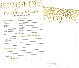 50 Gold Polka Dot Advice and Prediction Cards for Baby Shower Game, New Mom & Dad Card or Mommy & Daddy To Be, Girl or Boy Babies New Parent Message Advice Book, Fun Gender Neutral Shower Party Favors