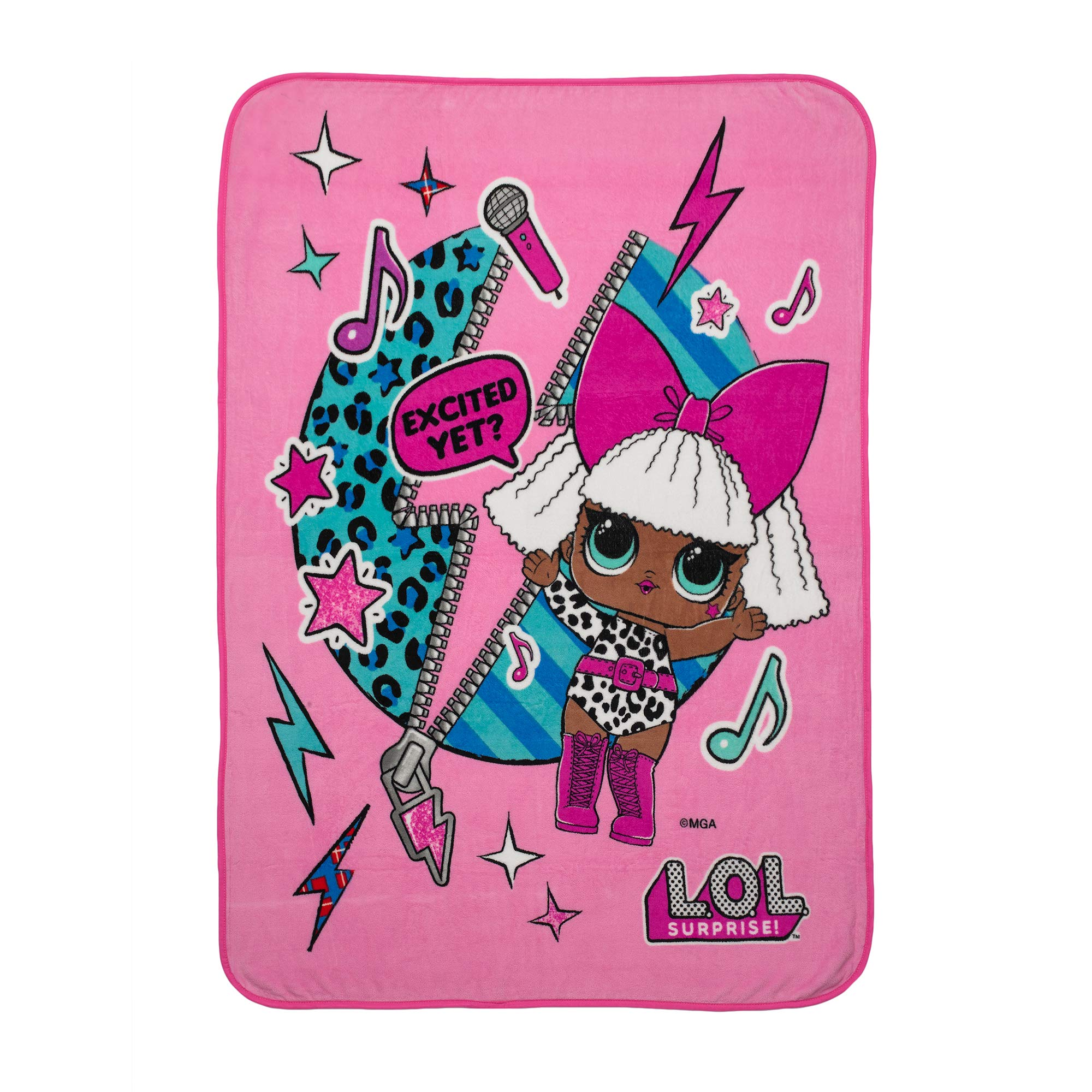 "L.O.L. 서프라이즈 '디바' 담요 L.O.L. Surprise! Diva Character Kids Bedding Ultra Soft Plush Throw, 46"" x 60"", Pink"