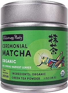 Wilderness Poets Ceremonial Matcha - Organic Green Tea Powder - from Shizuoka Japan - 1 Ounce