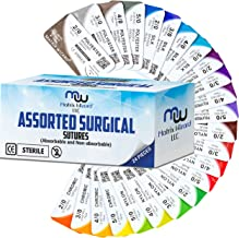 Mixed Sutures Thread with Needle (Absorbable: Chromic Catgut; Non-Absorbable: Nylon, Silk, Polyester, Polypropylene) - Surgical Wound Practice Kit, Emergency First Aid Demo (2-0, 3-0, 4-0, 5-0) 24PK