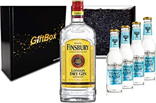 Gin Tonic Giftbox Geschenkset - Finsbury London Dry Gin 0,7l 700ml 37,5% Vol  4x Fever Tree Mediterranean Tonic Water 200ml inkl. Pfand MEHRWEG  Geschenkverpackung