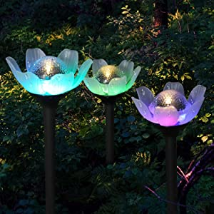 Solar Garden Lights - 6 Pack Decorative Warm White and Multi-Color Changing LED Lotus Lights Solar Lights Outdoor Garden Stake Lights for Garden Lawn Patio Walkway Backyard Decoration