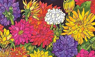 Toland Home Garden Dizzy Dahlias 18 x 30 Inch Decorative Floor Mat Flower Colorful Floral Bouquet Doormat