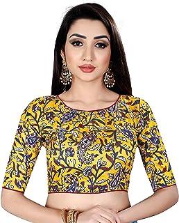 03cade5d454819 Ocean Fashion Women's Satin Silk Kalamkari Work Round Neck Readymade Saree  Blouses