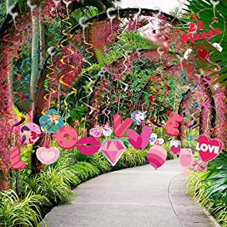 NimJoy 22 Stytles Valentine's Day Decorative Yard Sign Outdoor Lawn Decorations Hanging Swirls Hearts Kiss Unicorn Love Letter and More Romantic Element Happy Valentine Home Decor, Colorful