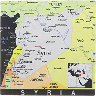 3dRose 8 x 8 x 0 25 Inches Modern Map of Syria in Vivid Color Mouse Pad (mp_160260_1)
