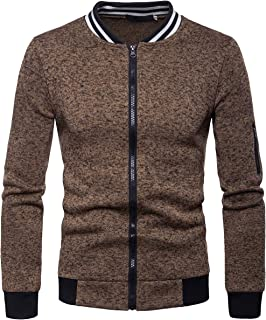 Cottory Mens Fashion Stand Collar Winter Jacket Slim Fit Front Full Zipper Fleece Coat