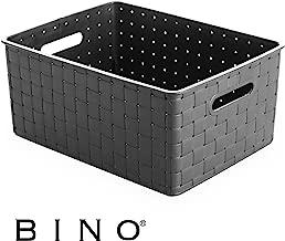 BINO Woven Plastic Storage Basket, Small (Grey)