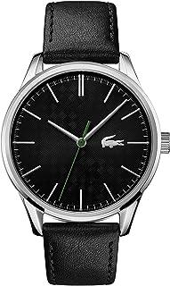ساعة جلدية سوداء بمينا اسود للرجال من لاكوست - 2011047