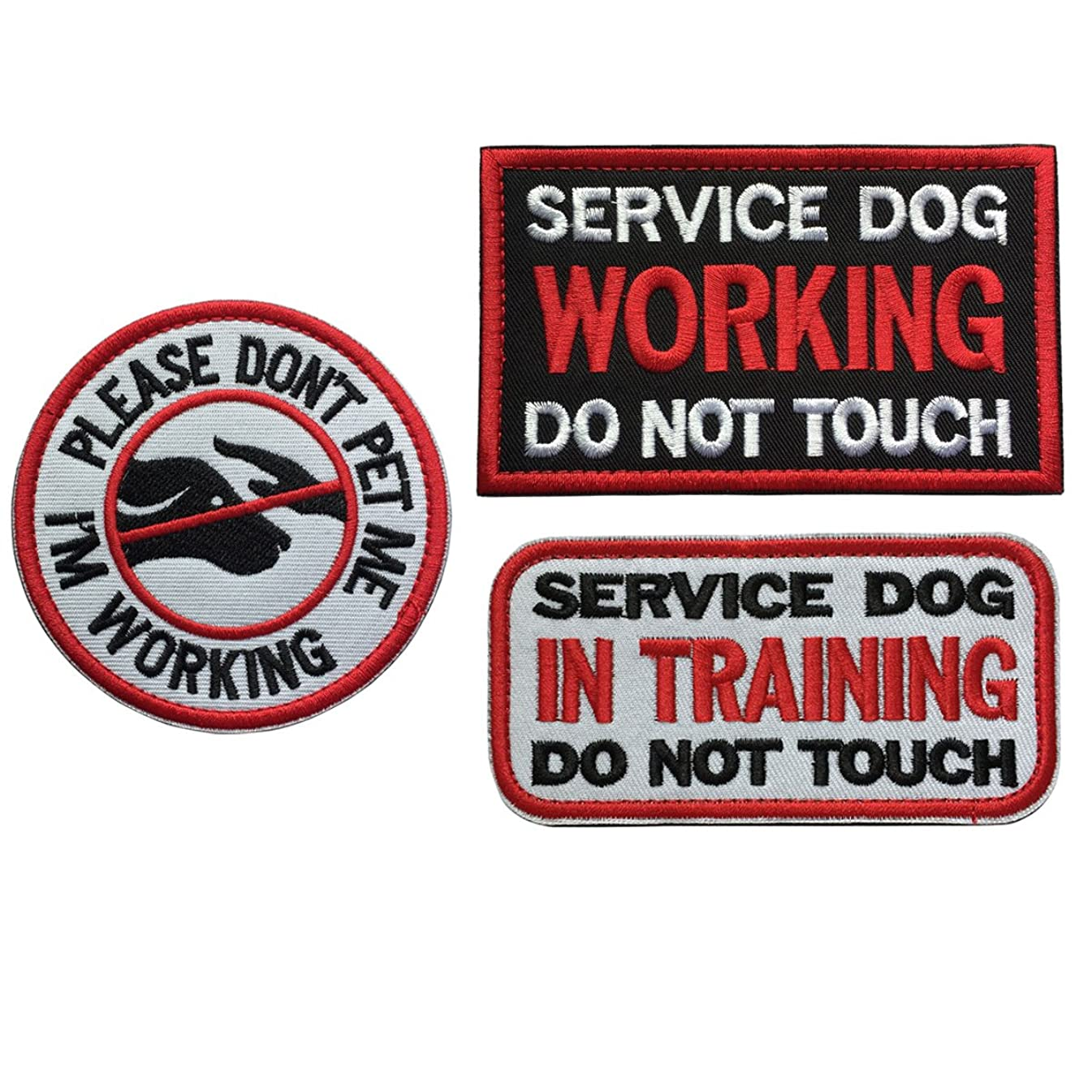 SpaceCar Bundle 3 Pieces Service Dog in Traning Working Do Not Touch Military Tactical Morale Badge Hook & Loop Fastener Decorative Patch