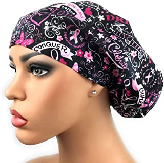 Womens Surgical Scrub Hat Breast Cancer Awareness Pink Ribbon Bouffant Cap Euro Style