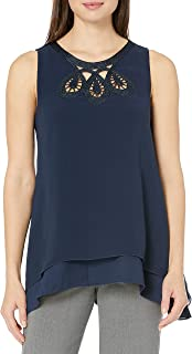 Lark & Ro Amazon Brand Women's Sleeveless Blouse with Embroidered Neckline