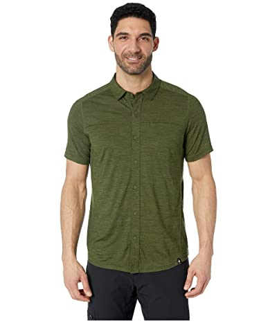 Smartwool Merino Sport 150 Short Sleeve Button Down (Moss Green Heather) Men