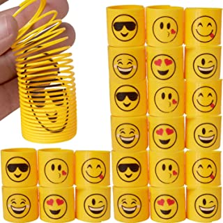 Kicko Emoji Coil Spring - 24 Pack - 1.4 Inch Spiral Emoticon Faces for Easter Basket Treats, Toy Collection, Class Rewards...