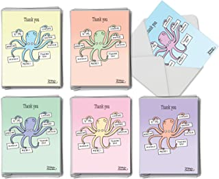 Many Thanks - 36 Octopus Thank You Note Cards with Envelopes (4 x 5.12 Inch) - Boxed Assortment of Thank Yous (6 Designs, 6 Each) AM4013TYG-B6x6