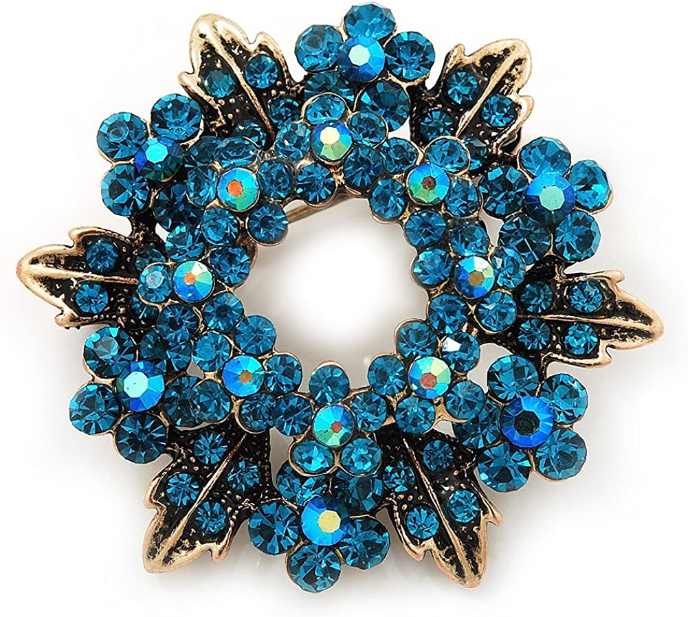 Avalaya Turquoise Coloured Crystal Wreath Brooch in Antique Gold Metal - 4cm Diameter