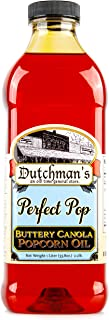 Dutchman's Popcorn Oil Butter Flavor, Perfect Pop Butter Flavored Canola Oil, 33.8 oz. Colored with Natural Beta Carotene,...