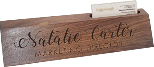 Custom Engraved Desk Name Plate - Personalized Desk Wedge with Business Card Holder (Walnut Wood)