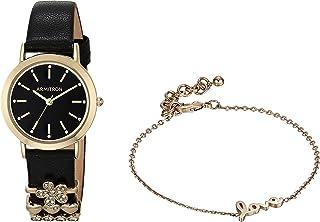 طقم ساعة يد بسوار جلدي مزين بكريستالات سواروفسكي للنساء من أرمترون