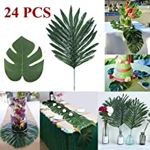Linkhome 24Pcs Artificial Tropical Palm Monstera Leaves 2 Kinds for Home Party Jungle Beach Table Decoration Accessories