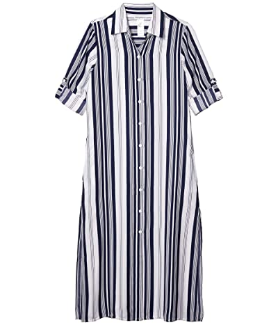 Tommy Bahama Tan Lines Stripes Midi Duster (Mare Navy/White) Women