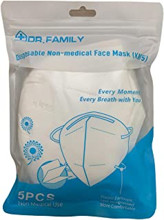 Disposable KN95 Face Masks, Non-Woven 5-Layer Disposable Mask, Elastic Ear Loops, Adjustable Nose Wire, Light Weight, Perf...