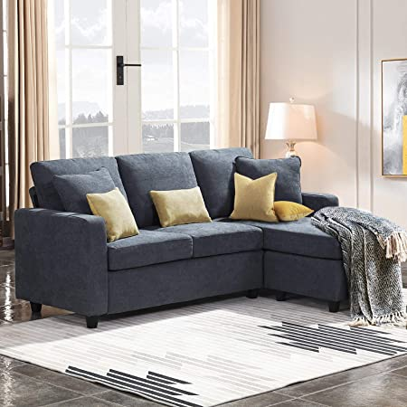 Best Living Furniture Modern Linen Fabric L Shaped Small Space Sectional Sofa With Stool Reversible Chaise In Grey Home Kitchen