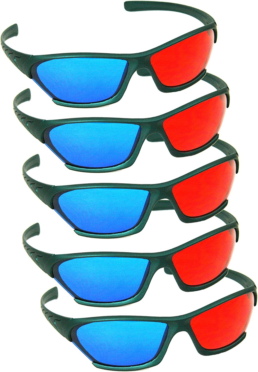 5 Inexpensive PAIRS - 3D Red Cyan Acrylic Glasses New arrival Plastic Classic Anaglyph L