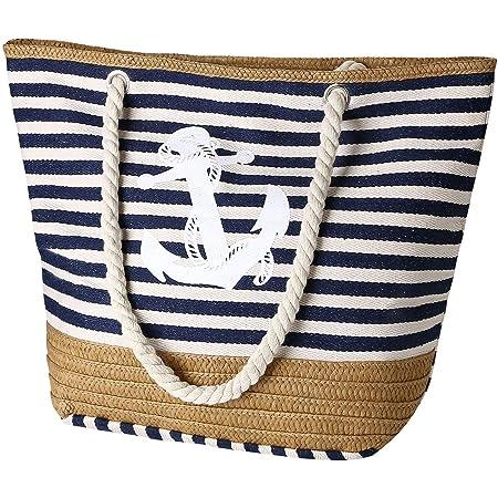 Flintronic Große Strandtasche mit Reißverschluss und Innentasche Wasserdicht Strandtasche, Einkaufstasche Shopper für Damen, Schultertasche Handtasche Einkaufstasche - Blau