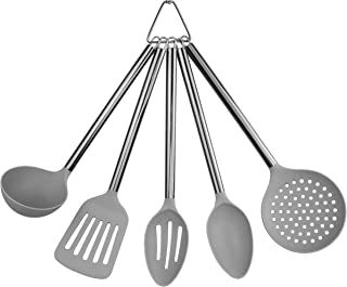 Country Kitchen 5 Piece Grey Nylon Cooking Utensil Set on a Ring with Black Gun Metal Stainless Steel Rounded Handles