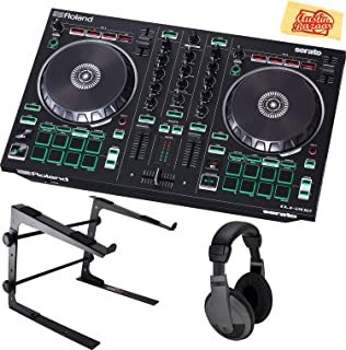 Roland DJ-202 DJ Controller Bundle with Stand, Headphones, and Austin Bazaar Polishing Cloth