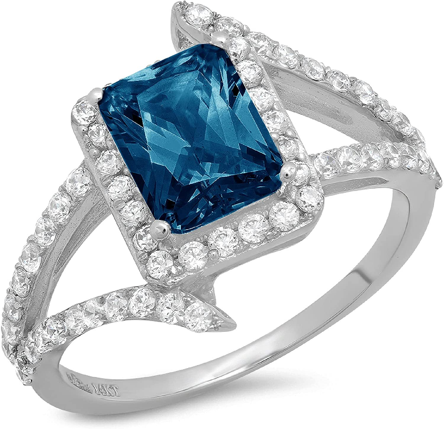Clara Pucci 2.2 ct Emerald Cut Solitaire Accent Halo Criss Cross Stunning Genuine Flawless Natural London Blue Topaz Gem Designer Modern Statement Ring Solid 18K White Gold