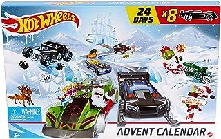 Hot Wheels Calendrier de l'avent, contient 24 surprises dont 8 petites voitures décorées et 16 accessoires, pour enfants d...