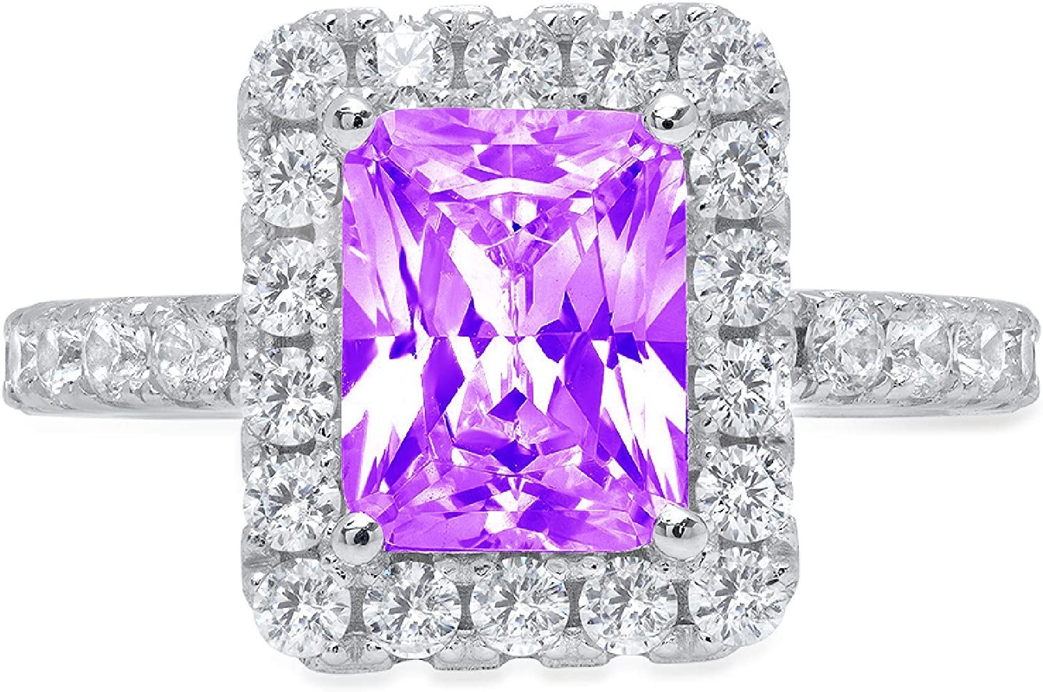 3.84ct Brilliant Emerald Cut Solitaire with Accent Halo Natural Purple Amethyst Gem Stone Ideal VVS1 Engagement Promise Statement Anniversary Bridal Wedding ring 14k White Gold