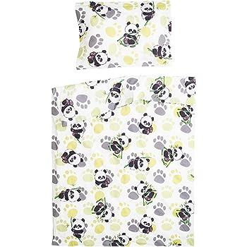 Bambou panda PatiChou 100/% Coton Parure Linge de lit pour b/éb/é Taie doreiller et Housse de couette 80x80 cm