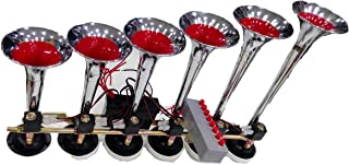 6 PIPE TRUMPETS AIR HORN WITH 8 MELODY TUNES CHROME COLOR
